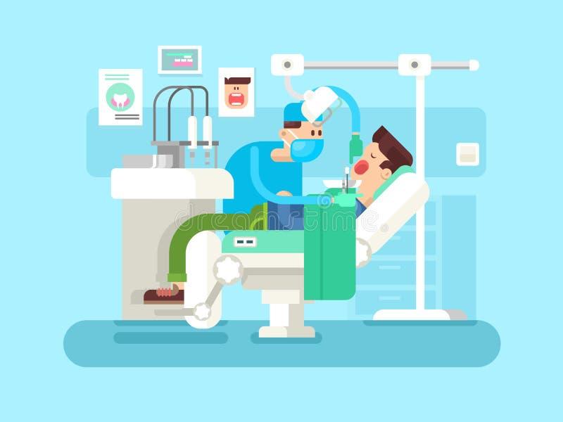 Zahnarzt behandelt einen Patienten vektor abbildung