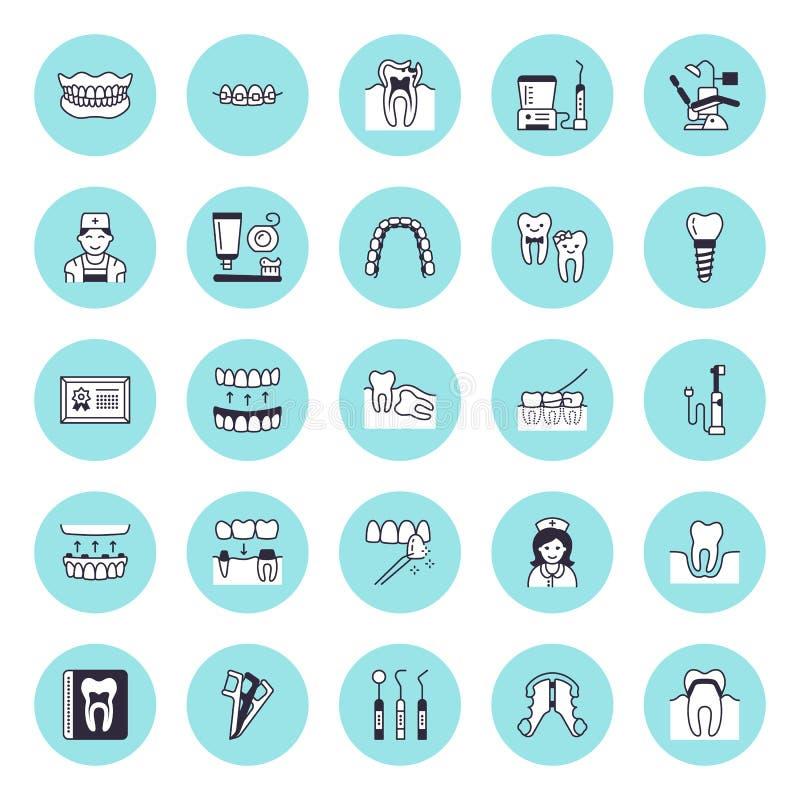 Zahnarzt, flache Linie Ikonen des Orthodontievektors Zahnpflegeausrüstung, Klammern, Zahnprothese, Furnier-Blätter, Glasschlacke, vektor abbildung