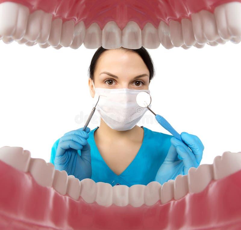 Zahnarzt mit Werkzeugen Konzept von Zahnheilkunde, das Weiß werden, mündlich hygien lizenzfreie stockbilder