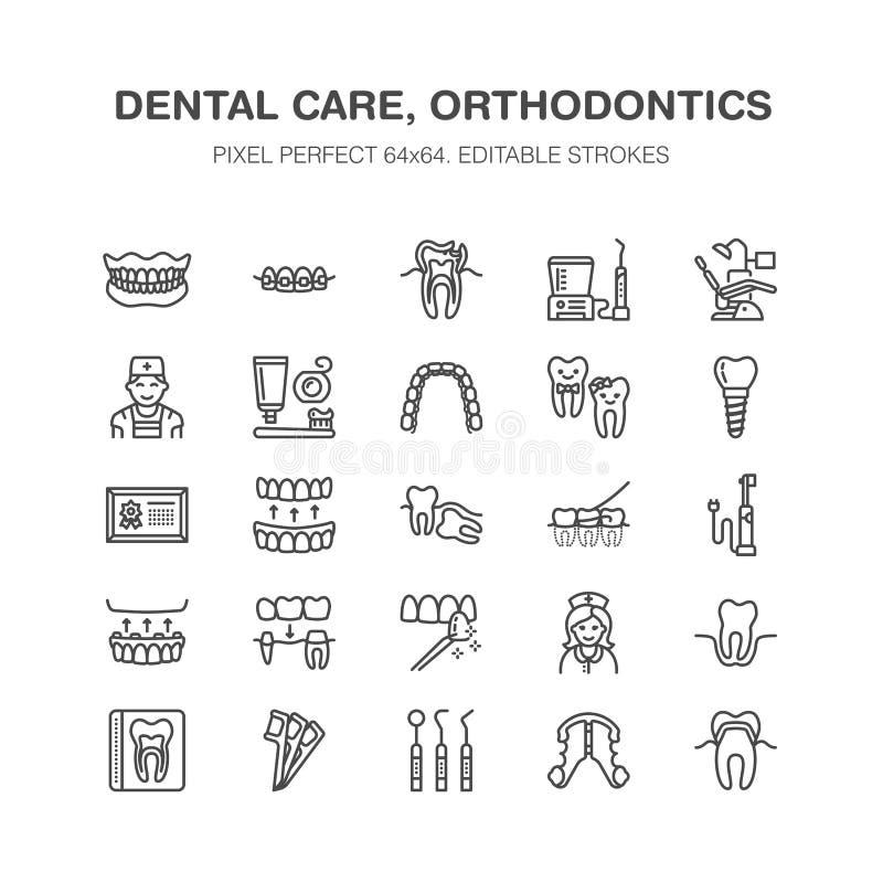 Zahnarzt, Orthodontielinie Ikonen Zahnmedizinische Ausrüstung, Klammern, Zahnprothese, Furnier-Blätter, Glasschlacke, Kariesbehan vektor abbildung