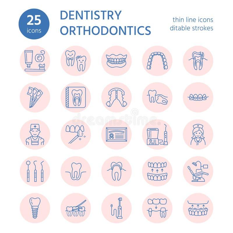 Zahnarzt, Orthodontielinie Ikonen Zahnpflegeausrüstung, Klammern, Zahnprothese, Furnier-Blätter, Glasschlacke, Kariesbehandlung u stock abbildung