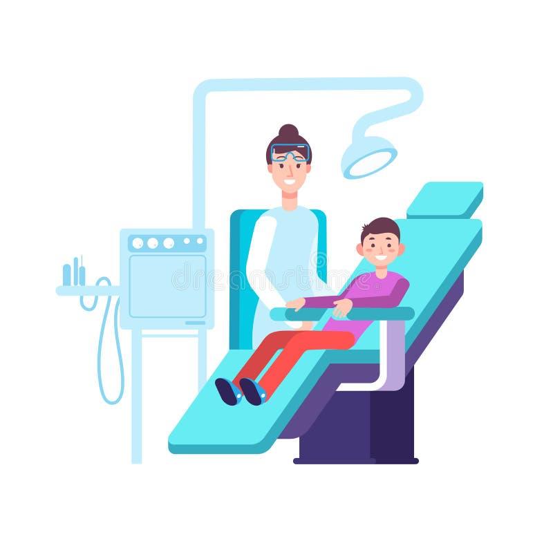 Zahnarzt- und Kinderpatient Doktorprüfungen childs Zähne im zahnmedizinischen Büro Zahnheilkunde, Mundhygiene und Stomatologievek stock abbildung