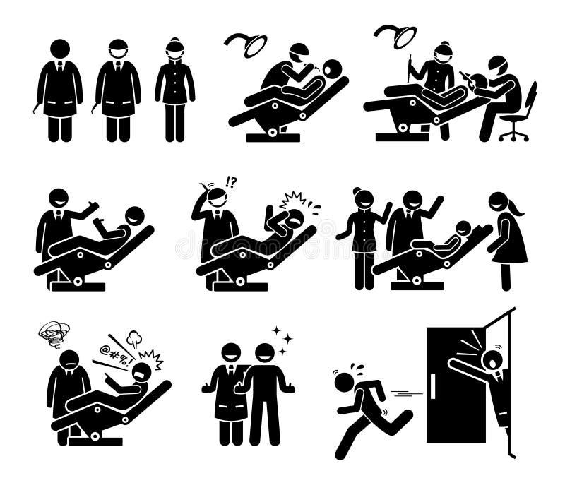 Zahnarzt und zahnmedizinische Klinik mit lustigen Reaktionen der Leute stock abbildung