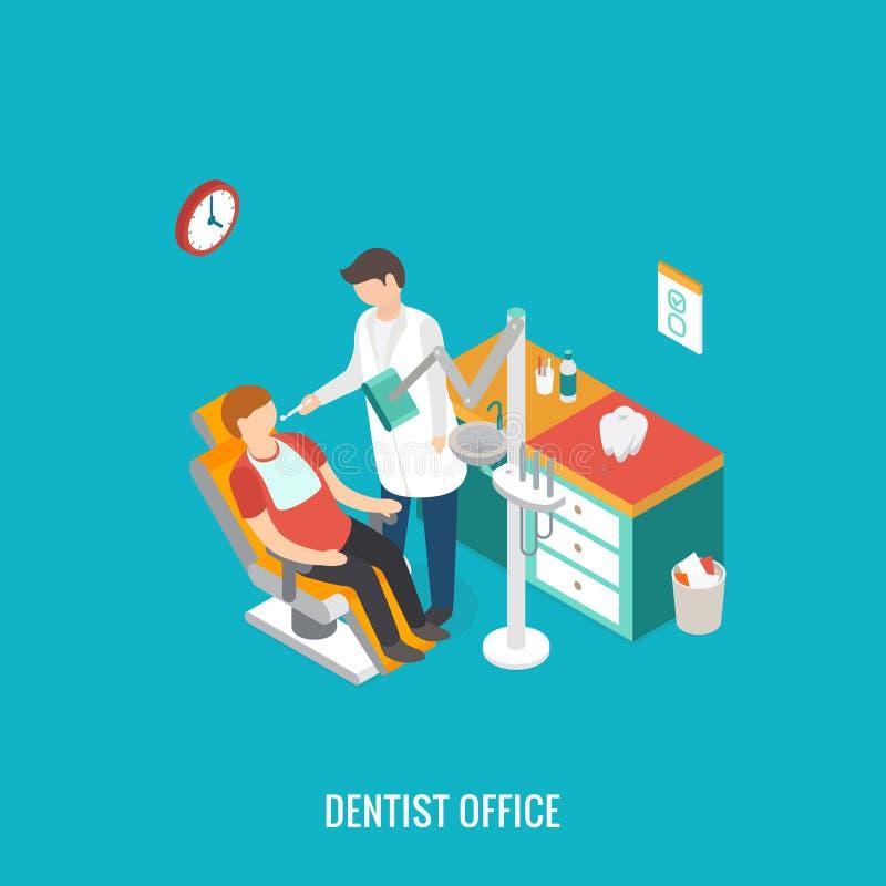 Zahnarztbüro während des Aufnahmepatienten vektor abbildung