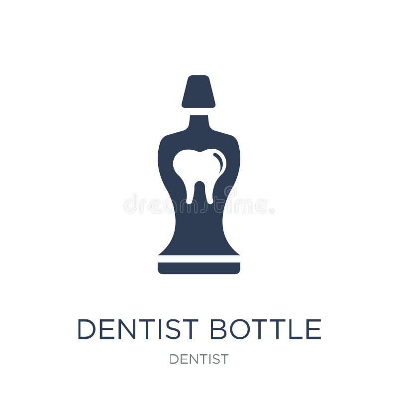 Zahnarztflasche mit flüssiger Ikone Modisches flaches Vektor Zahnarzt bott lizenzfreie abbildung