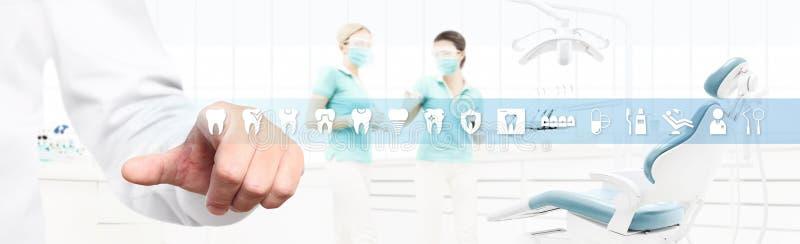 Zahnarzthandtouch Screen Zahnikonen und -symbole auf zahnmedizinischem clin vektor abbildung