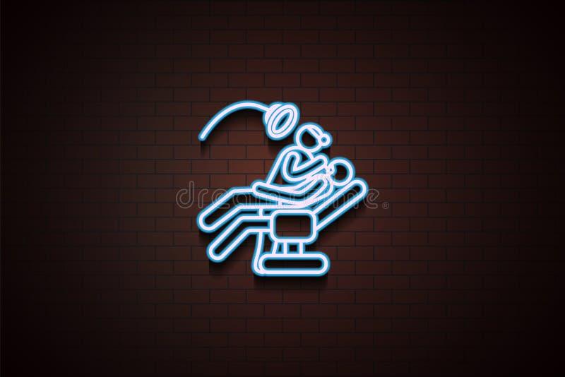 Zahnarztikone im Neon lizenzfreie abbildung