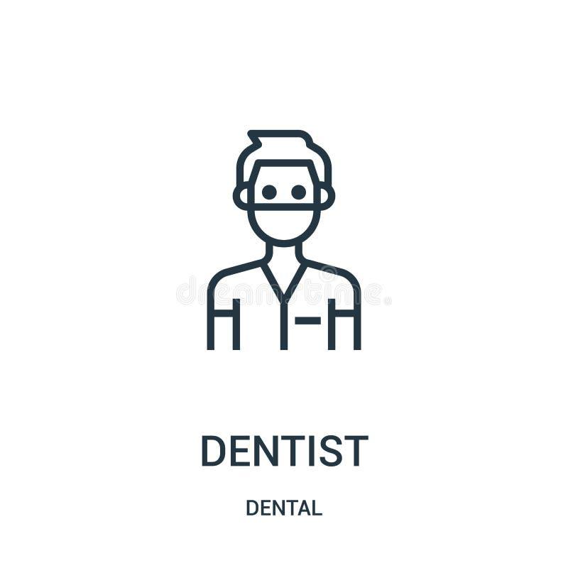 Zahnarztikonenvektor von der zahnmedizinischen Sammlung D?nne Linie Zahnarztentwurfsikonen-Vektorillustration Lineares Symbol lizenzfreie abbildung