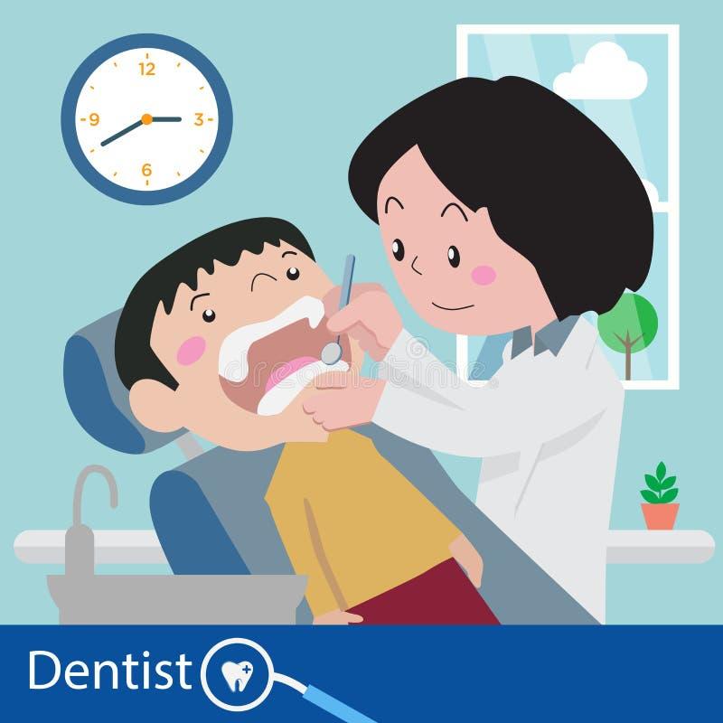 Zahnarztstuhl während eines zahnmedizinischen Vektors lizenzfreie abbildung