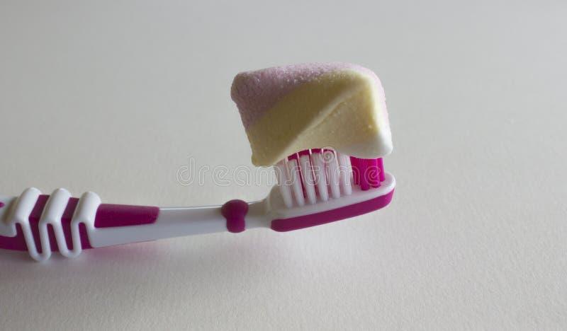 Zahnbürste mit buntem Eibisch auf einem weißen Hintergrund lizenzfreie stockfotografie
