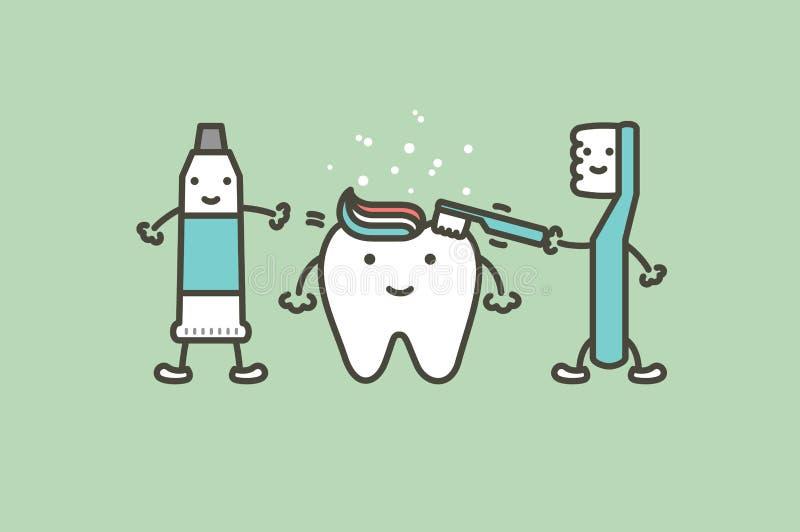 Zahnbürste und Zahnpasta putzen Zähne zum gesunden weißen Zahn - flache Art des zahnmedizinischen Karikaturvektors stock abbildung
