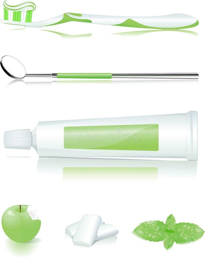 Zahnbürste, Zahnpasta, Apfel, Gummi und Minze lizenzfreie abbildung