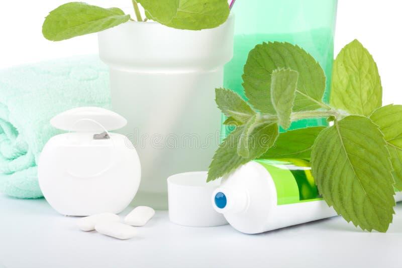 Zahnbürste, Zahnpasta und Blätter der Minze stockfoto