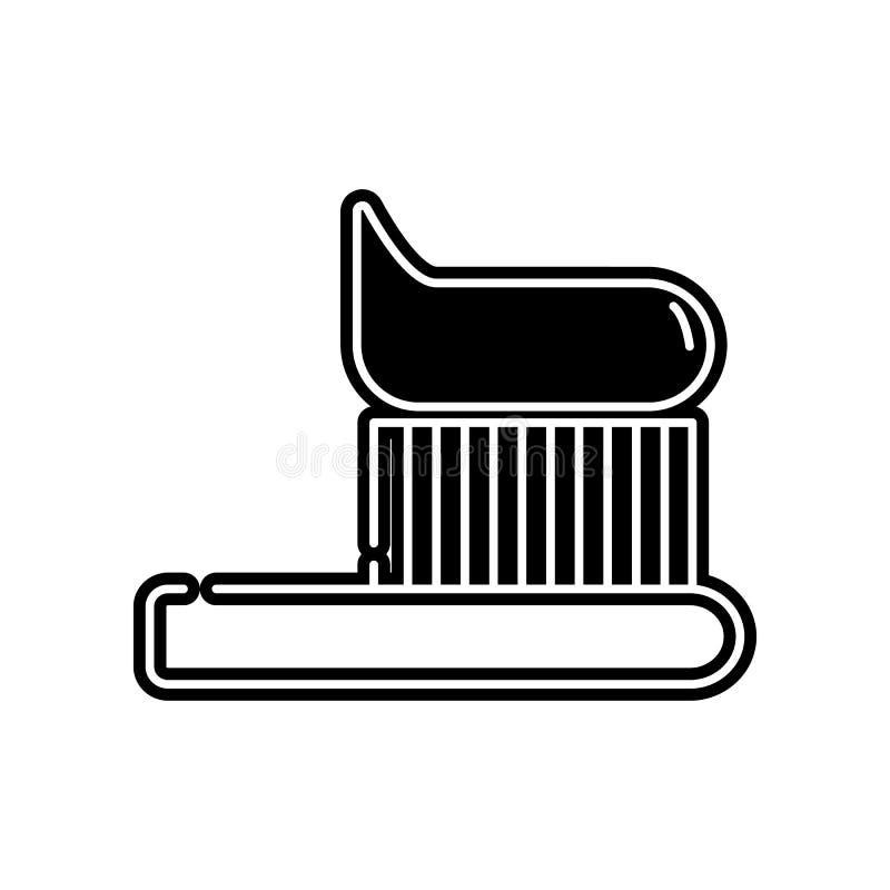 Zahnb?rstenzahnb?rste mit Zahnpastalinie Kunstikone Element von Dantist f?r bewegliches Konzept und Netz Appsikone Glyph, flache  stock abbildung