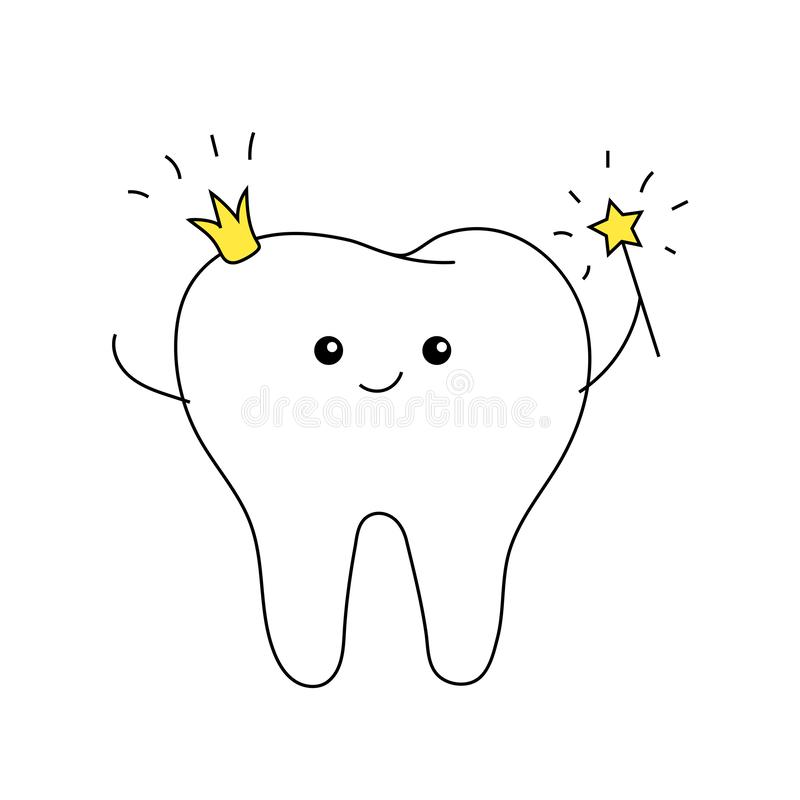 Zahnfee mit Krone und Magiestab nette Kind-` s Karte minimal lizenzfreie abbildung