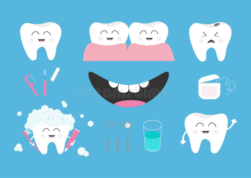Zahngesundheits-Ikonensatz Zahnpasta, Zahnbürste, zahnmedizinische Werkzeuginstrumente, Thread, Glasschlacke, Spiegel, Bürste, Wa vektor abbildung