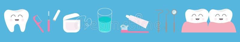 Zahngesundheitsikonen-Satzlinie Zahnpasta, Zahnbürste, zahnmedizinische Werkzeuginstrumente, Thread, Glasschlacke, Spiegel, Bürst stock abbildung