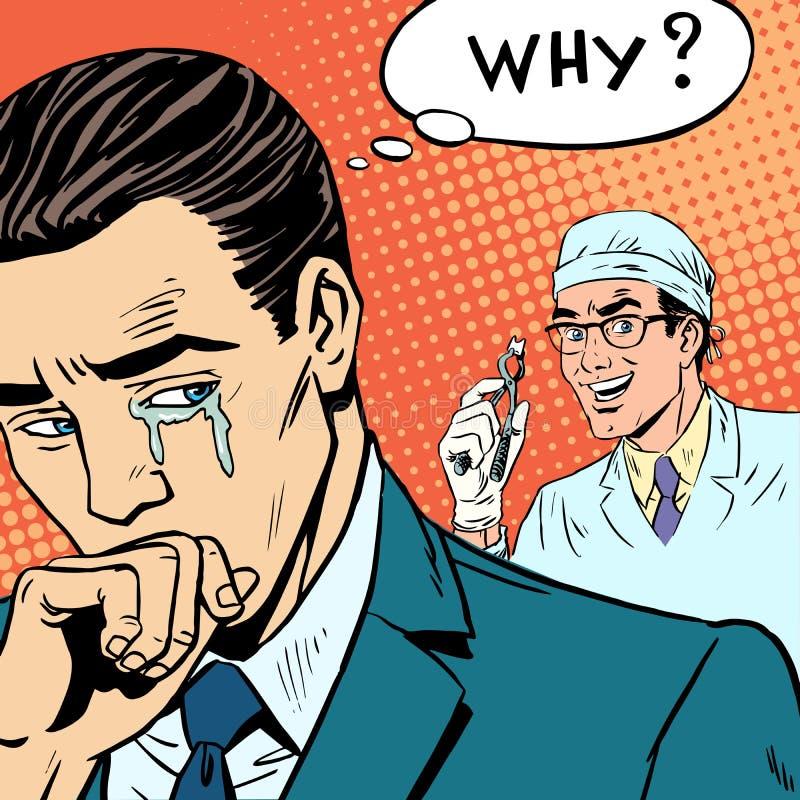 Zahnheilkunde, die männlicher Doktor einen Zahn zog, schreit lizenzfreie abbildung