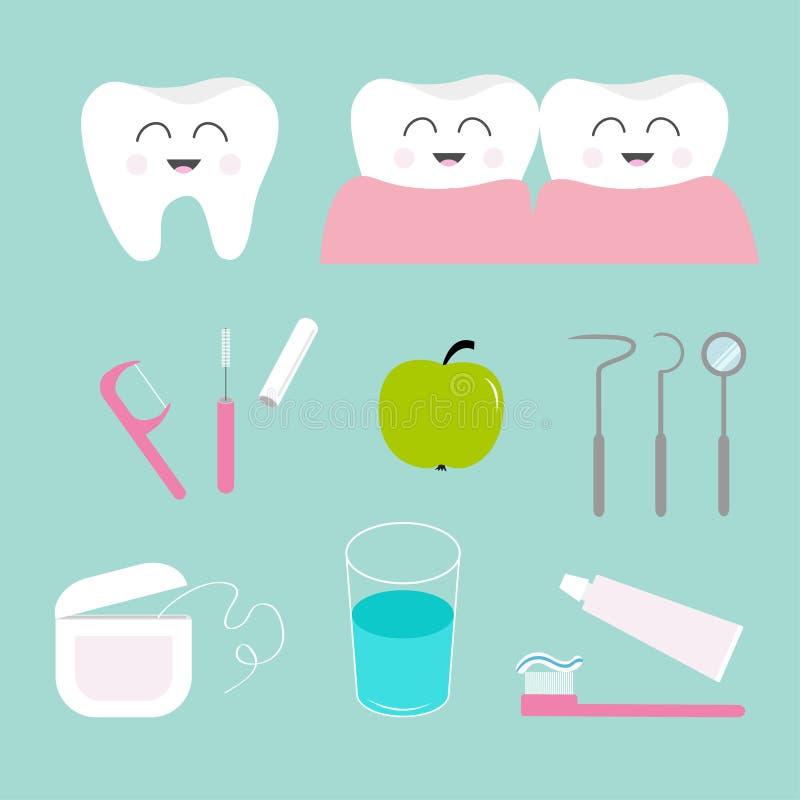 Zahnikonensatz Zahnpasta, Zahnbürste, zahnmedizinische Werkzeuginstrumente, Thread, Glasschlacke, Spiegel, Bürstenreiniger, Wasse lizenzfreie abbildung