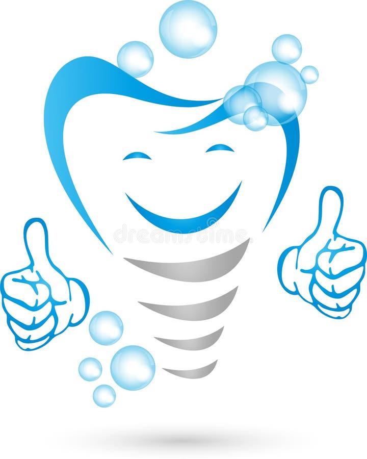 Zahnimplantat mit den Händen und Lächeln, Zahnarztlogo lizenzfreie abbildung