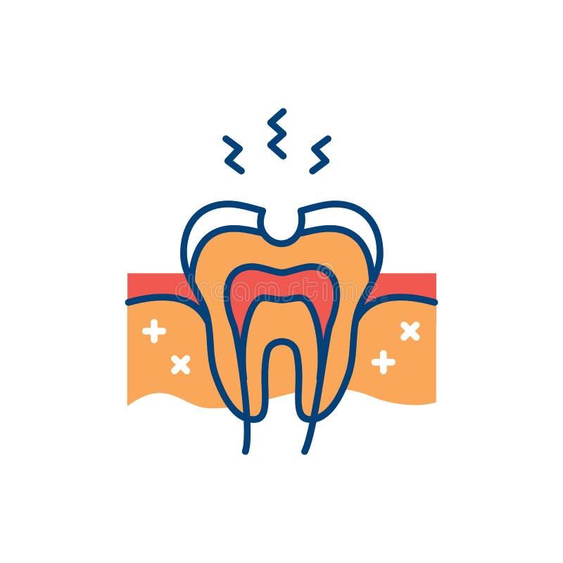 Zahnkariesikone Zahnloch, schädigendes Zahnemaille, Zahnschmerzen Auch im corel abgehobenen Betrag stock abbildung