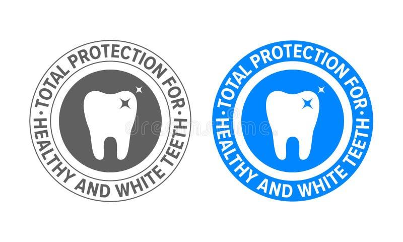 Zahnlogo für Zahnpasta und Zahnweißung Zahnmedizinische Klinik des Vektors und anerkannter Bescheinigungsaufkleber des Zahnzahnar lizenzfreie abbildung
