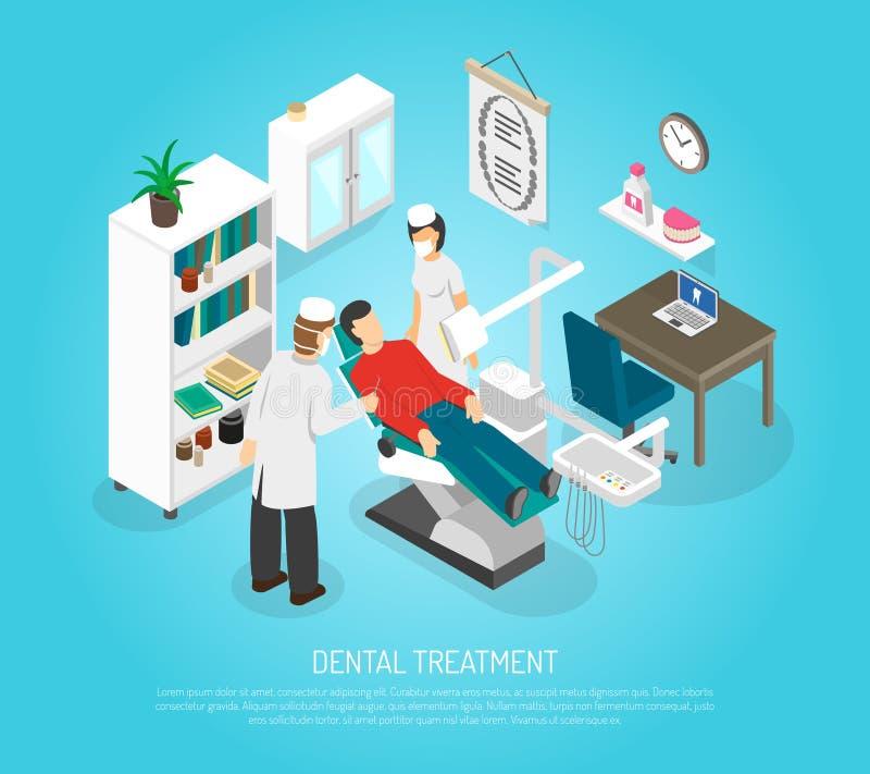 Zahnmedizinische Überprüfungs-Verfahrens-Behandlungs-isometrisches Plakat stock abbildung