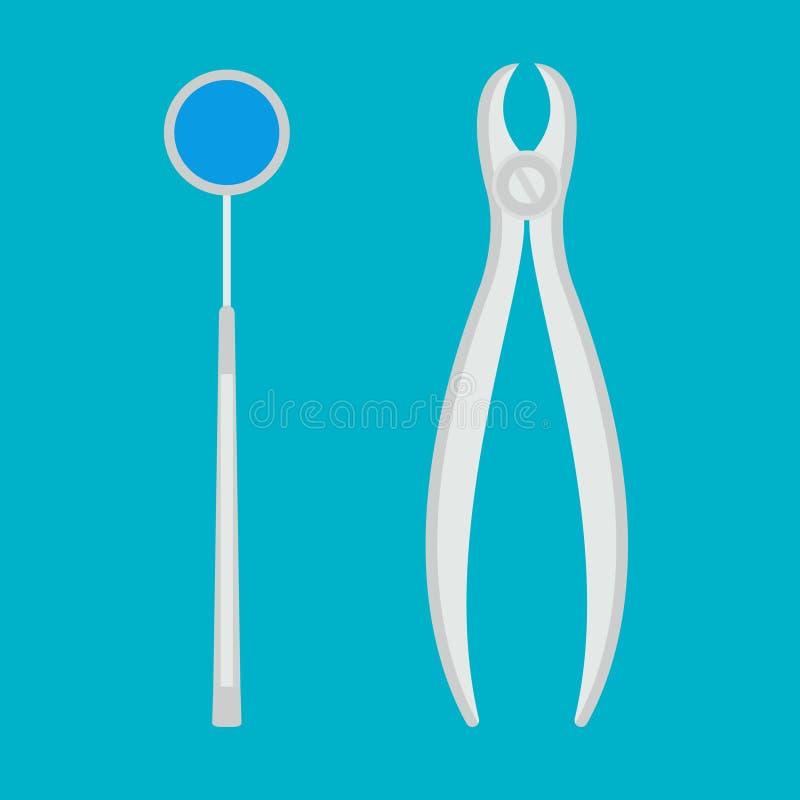 Zahnmedizinische Ausrüstung des Vektors auf einem blauen Hintergrund vektor abbildung