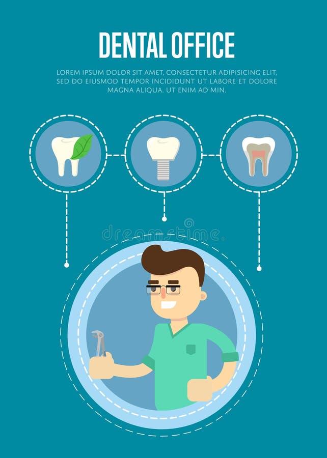 Zahnmedizinische Bürofahne mit männlichem Zahnarzt stock abbildung