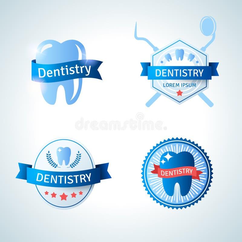 Zahnmedizinische Emblemsammlung für Zahnheilkunde und vektor abbildung