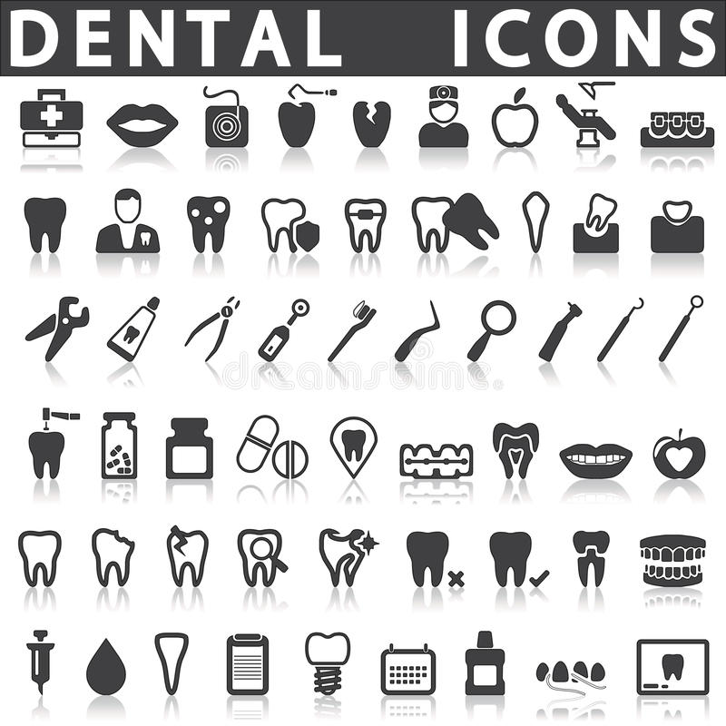 Zahnmedizinische Ikonen stock abbildung