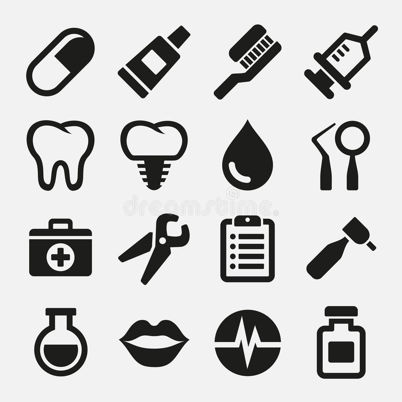 Zahnmedizinische Ikonen eingestellt lizenzfreie abbildung