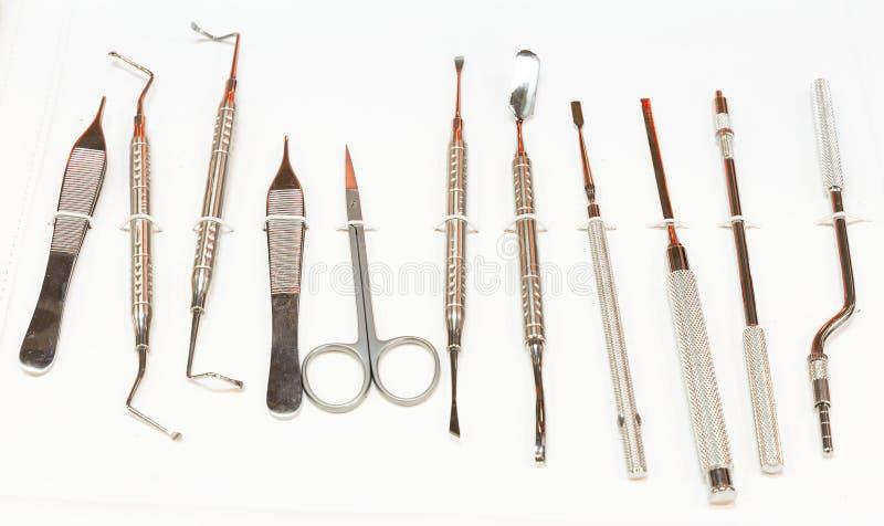 Zahnmedizinische Instrumente für Stomatologiepraxis stockfotos