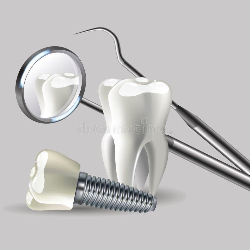 Zahnmedizinische Instrumente, medizinische Ausrüstung, Zahnarztwerkzeugschattenbilder lizenzfreie abbildung