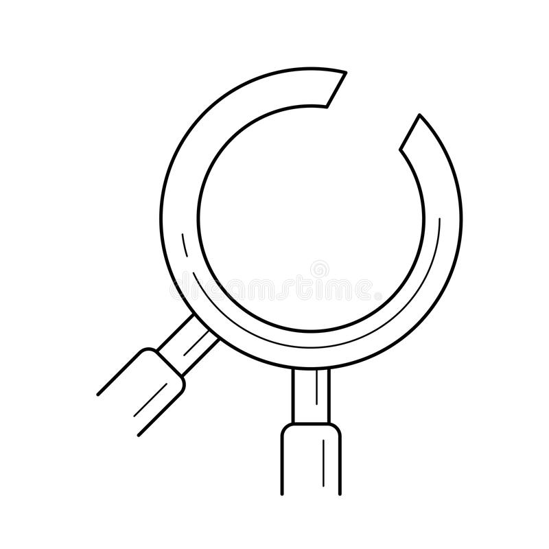 Zahnmedizinische Instrumentlinie Ikone vektor abbildung