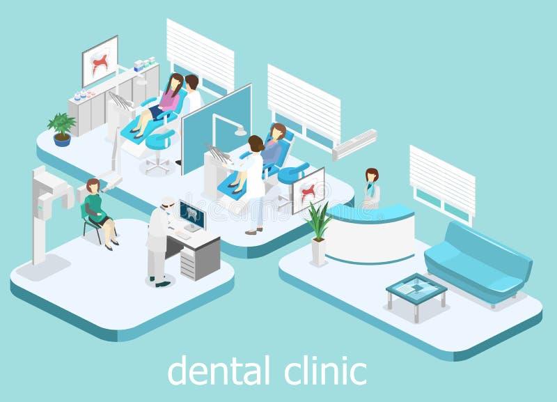 Zahnmedizinische Klinik flach Innen von Zahnarzt ` s Büro vektor abbildung