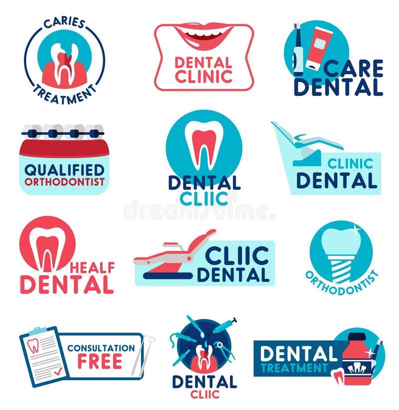 Zahnmedizinische Klinik- und Zahnheilkundemedizinvektorikonen vektor abbildung