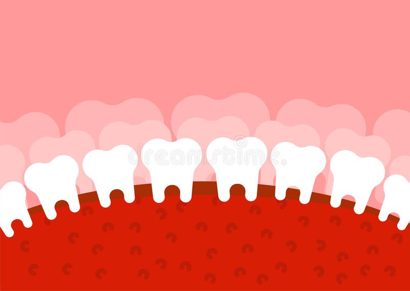 Zahnmedizinische Landschaft Zähne und Zunge Mund und Zahn Fantastisches t lizenzfreie abbildung