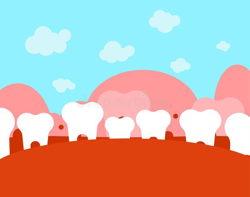 Zahnmedizinische Landschaft Zähne und Zunge Mund und Zahn Fantastisches t stock abbildung