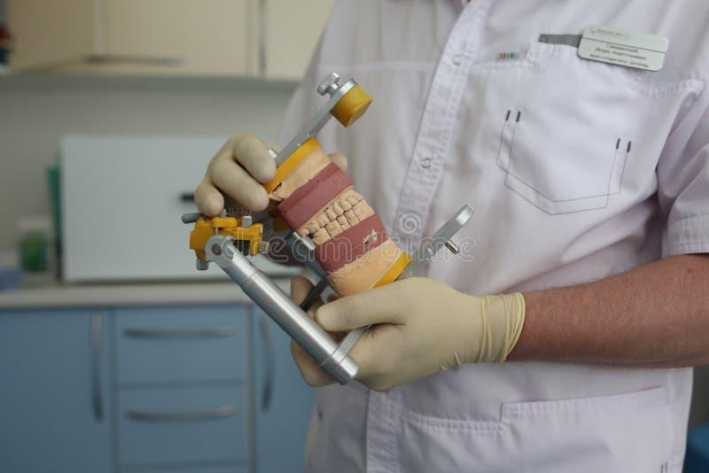Zahnmedizinische Prothese wirft in den Händen des Zahnarztes lizenzfreie stockfotografie