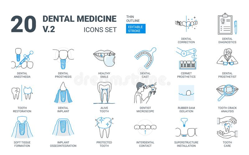 Zahnmedizinische Prothesen-Ikone eingestellt in flache Entwurfs-Art lizenzfreie abbildung