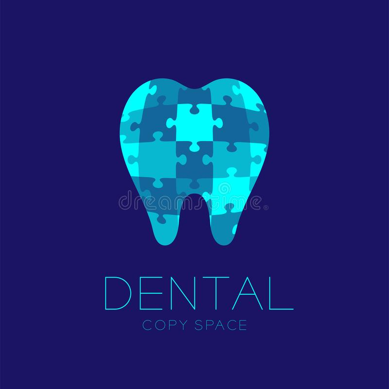 Zahnmedizinische Puzzle-Designillustration des Kliniklogoikonenzahnes lizenzfreie abbildung