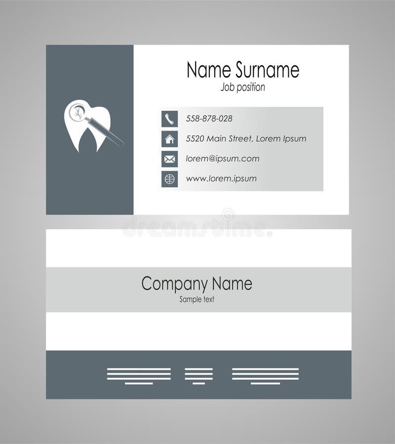 Zahnmedizinische Visitenkarteschablone auf dem grauen Hintergrund - Vektorillustration stock abbildung