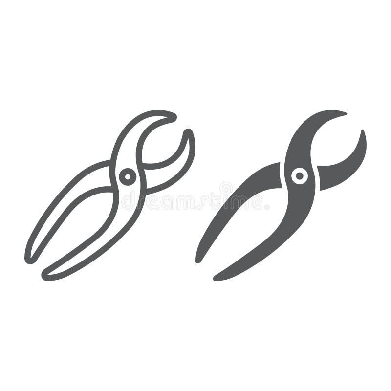 Zahnmedizinische Zangen zeichnen und Glyphikone, Stomatologie vektor abbildung