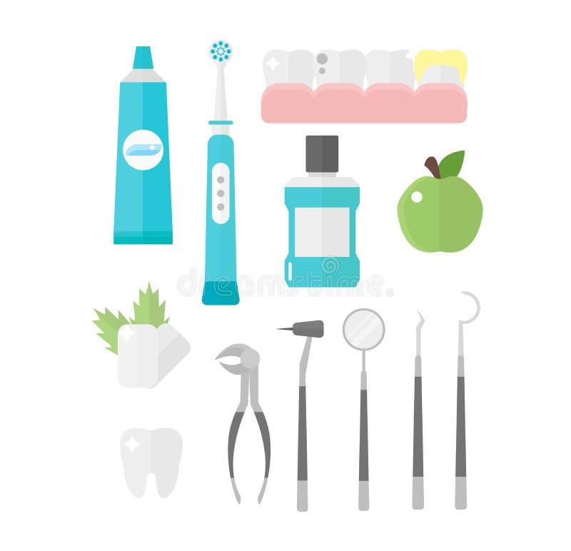 Zahnmedizinischer Ikonenvektorsatz lizenzfreie abbildung