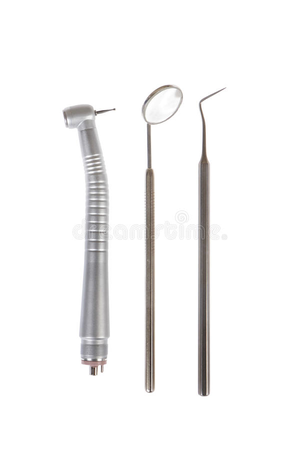 Zahnmedizinischer Spiegel, zahnmedizinische Sonde und Turbine stockbild