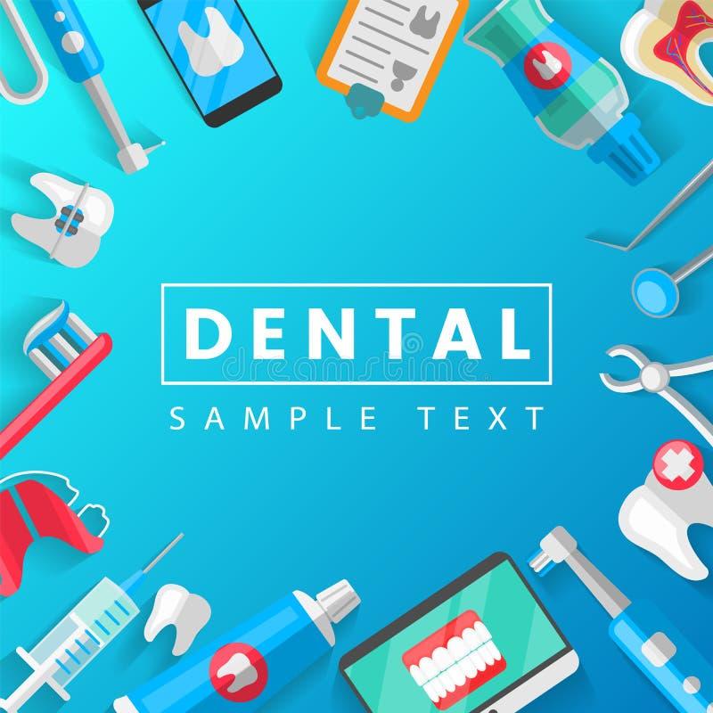 Zahnmedizinisches Fahnen-Hintergrund-Konzept mit flachen Ikonen Vektor-Illustration, Zahnheilkunde, Orthodontie Gesund säubern Si lizenzfreie abbildung