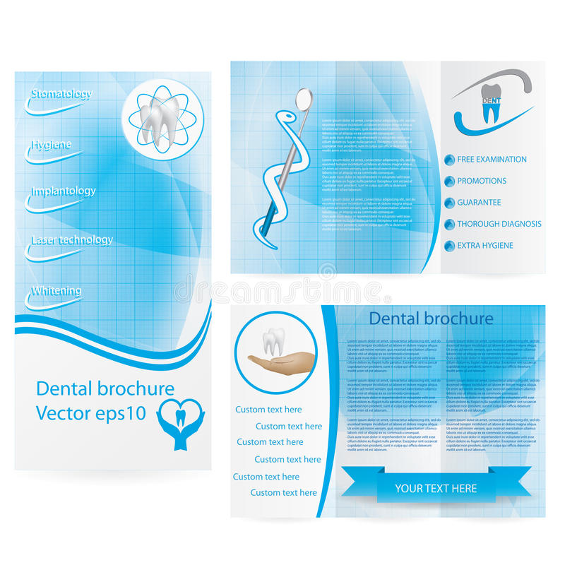 Zahnmedizinisches Illustrationsbroschürendesign stock abbildung