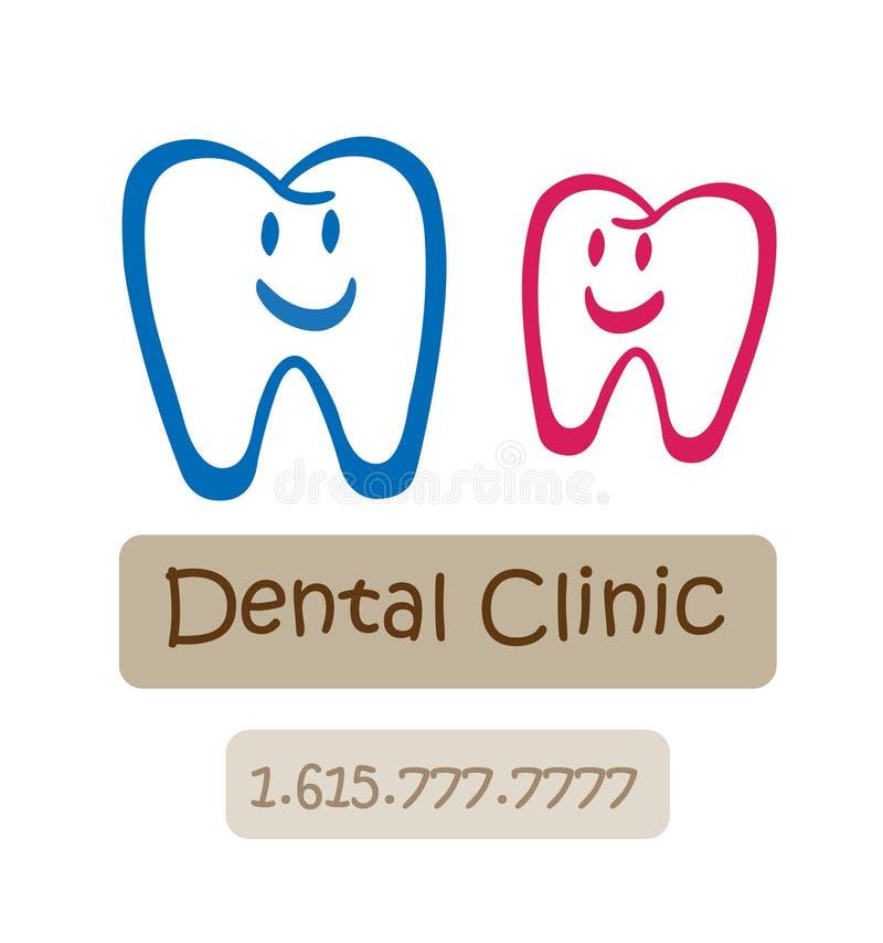 Zahnmedizinisches Klinik-Zeichen stock abbildung