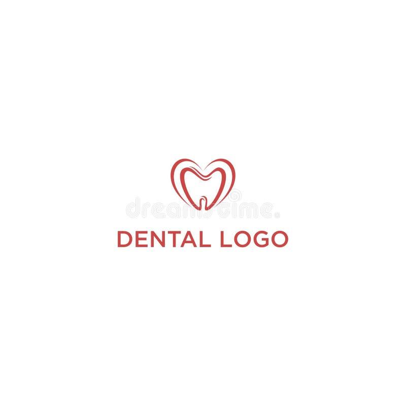Zahnmedizinisches Logo mit roter Farbe lizenzfreie abbildung